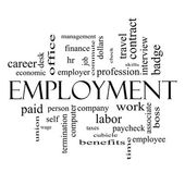 Employment Word Cloud Concept in Black and White — Foto Stock