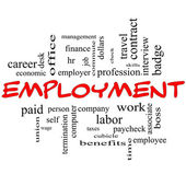 Employment Word Cloud Concept in red caps — Foto Stock