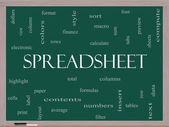 Spreadsheet Word Cloud Concept on a Blackboard — Stock Photo