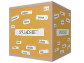 Spreadsheet 3D Cube Corkboard Word Concept — Stock Photo