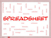 Spreadsheet Word Cloud Concept on a Whiteboard — Stock Photo