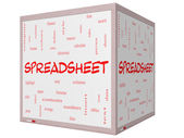 Spreadsheet Word Cloud Concept on a 3D Cube Whiteboard — Stock Photo