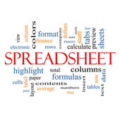 Spreadsheet Word Cloud Concept — Stock Photo