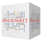 Spreadsheet 3D Cube Word Cloud Concept — Stock Photo