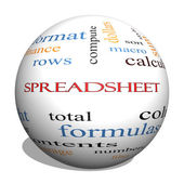 Spreadsheet 3D Sphere Word Cloud Concept — Stock Photo