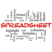 Spreadsheet Word Cloud Concept in red caps — Stock Photo