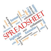 Spreadsheet Word Cloud Concept Angled — Stock Photo