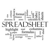Spreadsheet Word Cloud Concept in black and white — Stock Photo