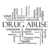 Drug Abuse Word Cloud Concept in black and white — Stock Photo