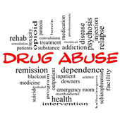 Drug Abuse Word Cloud Concept in red caps — Stock Photo