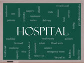 Hospital Word Cloud Concept on a Blackboard — Stock Photo