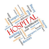 Hospital Word Cloud Concept Angled — Stock Photo
