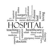 Hospital Word Cloud Concept in black and white — Stock Photo