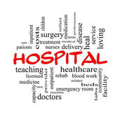 Hospital Word Cloud Concept in red caps — Stock Photo