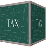 Tax Word Cloud Concept on a 3d cube Blackboard — Stock Photo