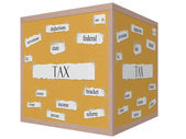Tax 3d cube Corkboard Word Concept — Stock Photo