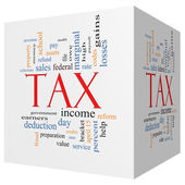Tax 3D cube Word Cloud Concept — Stock Photo