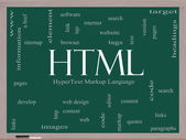 HTML Word Cloud Concept on a Blackboard — Stock Photo