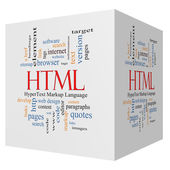 HTML 3D cube Word Cloud Concept — Stock Photo
