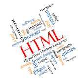 HTML Word Cloud Concept angled — Stock Photo