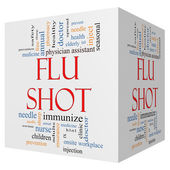 Flu Shot 3D Cube Word Cloud Concept — 图库照片