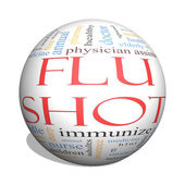 Flu Shot 3D Sphere Word Cloud Concept — 图库照片
