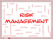 Risk Management Word Cloud Concept on a Whiteboard — Stock Photo