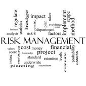 Risk Management Word Cloud Concept in black and white — Stock Photo