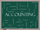 Accounting Word Cloud Concept on a Blackboard — Stock Photo