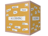 Accounting 3D cube Corkboard Word Concept — Stock Photo