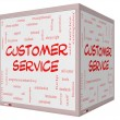 Customer Service Word Cloud Concept on a 3D cube Whiteboard — Stock Photo