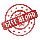 Red Weathered Give Blood Today Stamp Circles and Stars — Stock Photo