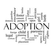 Adoption Word Cloud Concept in black and white — Stock Photo