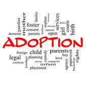 Adoption Word Cloud Concept in red caps — Stock Photo