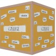 Stock Photo: College 3D Cube Corkboard Word Concept