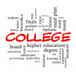 Stock Photo: College Word Cloud Concept in red caps