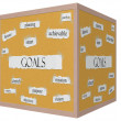 Goals 3D cube Corkboard Word Concept — Stock Photo