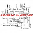 Foto Stock: Reverse Mortgage Word Cloud Concept in red caps