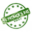Stock Photo: Green Weathered St. Patrick's Day Stamp Circle and Stars