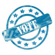 Blue Weathered Vote Stamp Circles and Stars — Stock Photo