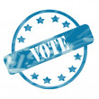 Stock Photo: Blue Weathered Vote Stamp Circle and Stars