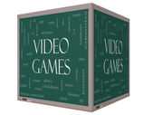 Video Games Word Cloud Concept on a 3D cube Blackboard — Stock Photo