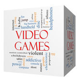 Video Games 3D cube Word Cloud Concept — Stock Photo