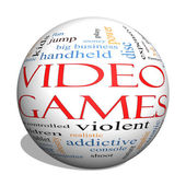 Video Games 3d sphere Word Cloud Concept — Stock Photo