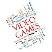 Video Games Word Cloud Concept Angled — Stock Photo