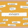 Annuity Corkboard Word Concept — Stock Photo