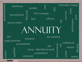 Annuity Word Cloud Concept on a Blackboard — Stock Photo