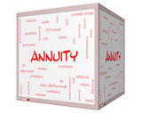 Annuity Word Cloud Concept on a 3D cube Whiteboard — Stock Photo