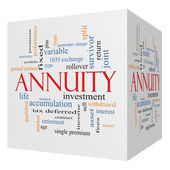 Annuity 3D cube Word Cloud Concept — Stock Photo
