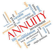 Annuity Word Cloud Concept Angled — Stock Photo